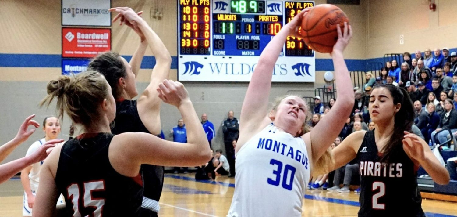 Osborne's triple in third OT gives Montague a 49-46 win over Hart and conference title