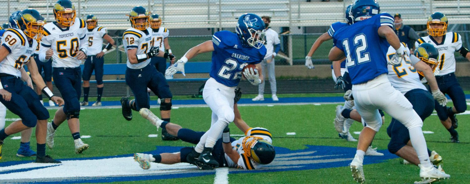 Oakridge explodes on offense, stays stingy on defense, in a 42-0 league victory over North Muskegon