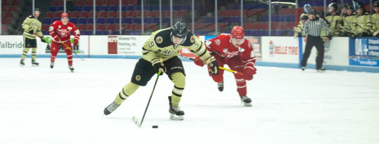 Rhett Pitlick breaks loose with three unassisted goals, leading Lumberjacks to a 7-1 beating of Dubuque Fighting Saints