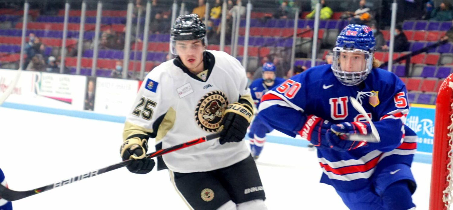Newly acquired Nick Portz scores twice, leading Lumberjacks to a 9-4 pounding of Team USA