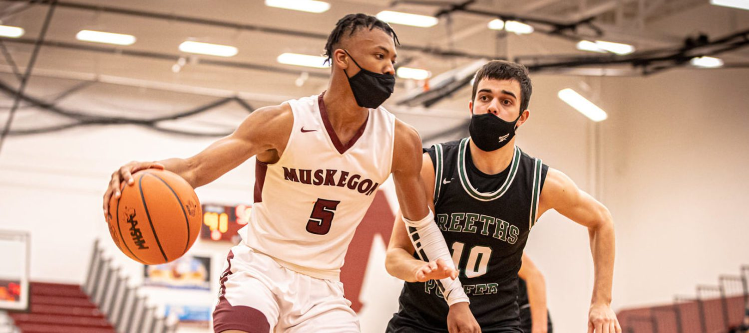 Stimage provides the senior spark for the Muskegon Big Reds in an impressive 65-44 league victory over Reeths-Puffer