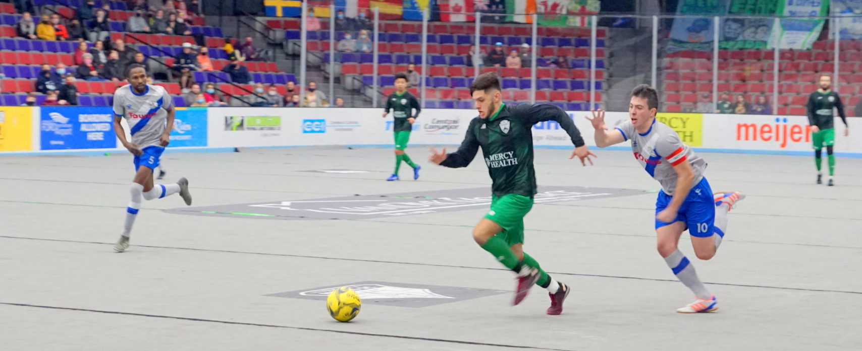 Muskegon Risers rally with three late goals to capture a dramatic 7-5 victory over Fort Wayne in their indoor season opener